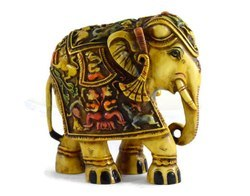 Handmade Handpainted Elephant Resin Figurine Sculpture