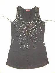Custom Black Ladies Sleeveless Top, Size: S M L XL