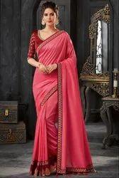 Cherry Pink Silk Designer Saree