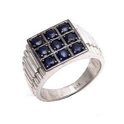 925 Hot Natural Blue Sapphire Mens Unisex Powerful Attractive Style Gemstone Ring