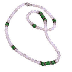 Gemco Designs 925 Sterling Silver Beaded Jade Necklace