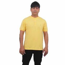 Men's Cotton Henley Neck Yellow Plain T Shirt