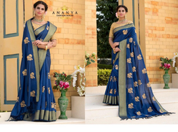Printed Dark Blue Weaving Silk Saree With Gold Blouse AFS112-4755