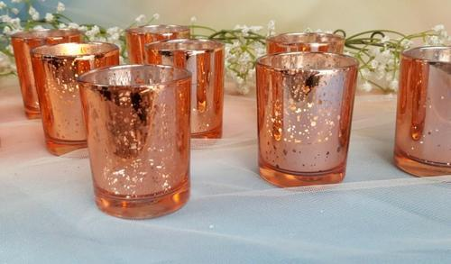 Rose Gold Mercury Glass Candle Holders Shape Round Rs 20 Piece