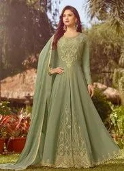 Georgette Party wear Bollywood Anarkali Suit with Side Cut, Machine wash