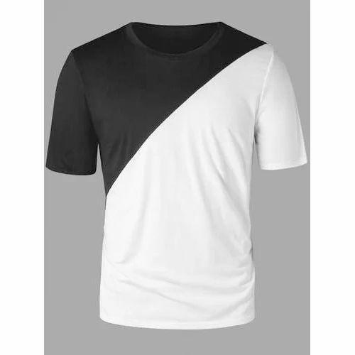 ca8f637e1bf Black And White Nylon Trendy Half Sleeve T Shirt
