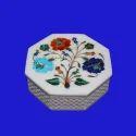 White Decorative Marble Inlay Jewelry Box