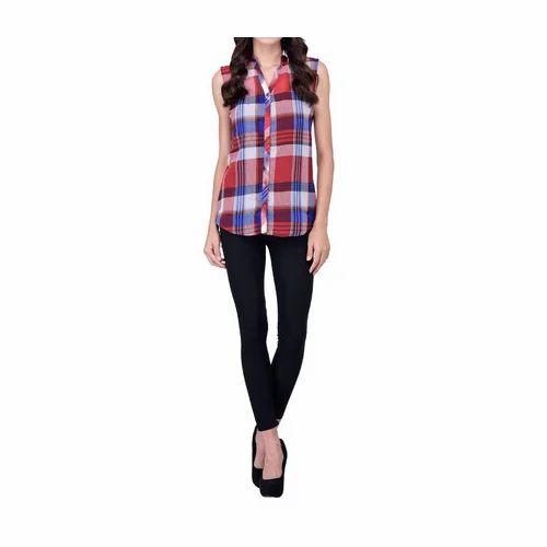 fa752bd853 Ladies Sleeveless Check Shirt