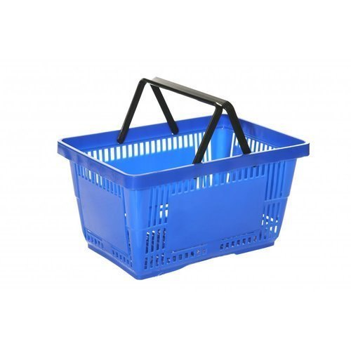 Black, Blue Plastic Shopping Basket
