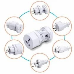 White ABS Plastic International Travel Adapter