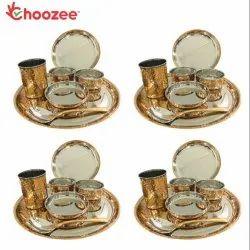 Choozee - Copper Thali Set of 4 (28 Pcs) Plate, Bowl, Spoon & Glass