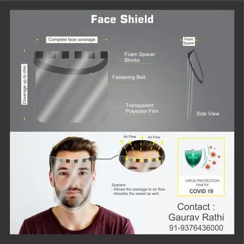 Face Shield Mask Polycarbonate 175 Micron Front Sheet