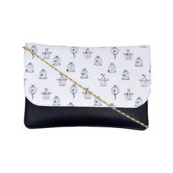 Azzra Black White Sling Clutch Bag