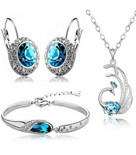 Valentine Gift By Shining Diva Blue Crystal Combo Jewellery Of