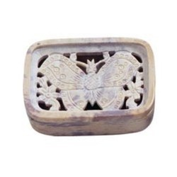 Butterfly Design Soapstone Soap Dish