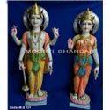 Laxmi Narayan Colored White Makrana Marble Statue