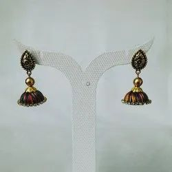 Silk Thread Jhumki Earrings