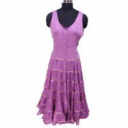 Ladies Sleeveless Fancy Western Dress, Size: XL