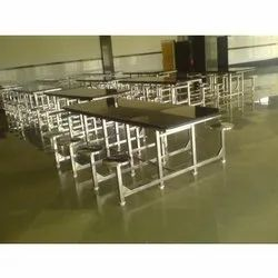 Silver Rectangle Industrial Dining Table With Granite