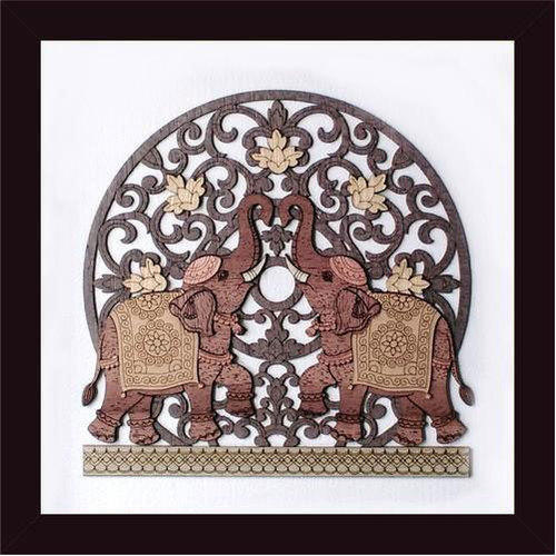 Elephant Flower Wood Carving Frame, Size: 8 x 8 inch
