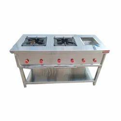 2 LPG Hottie Two Burner Cooking Range With Deep Fryer, For Restaurant, Size: 24