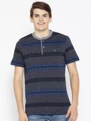 Cotton Half Sleeves Designer Henley Neck T-Shirt For Men, Size: S TO XXL