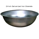 Galvanized Iron Silver Color Round Ghamela, Size: 24 Inch