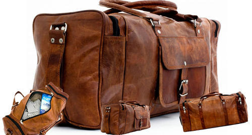 c366628353 Brown DHL Men  s Leather Duffel Travel Gym Leather Bag