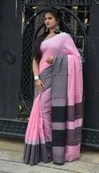 Pastel Pink With Black Linen Saree