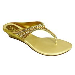 Milano Women Metallic Golden Wedges Sandals
