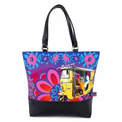 69caf08e7c Floral And Auto Fatfatiya Shekhawati Auto Rickshaw Canvas and Faux Leather  Tote Bag
