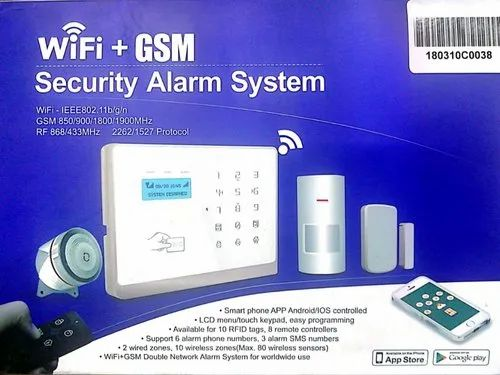 GSM Home Security Alarm System with 2 Door Sensor, 1 Motion Sensor, 2  Remote & 1 wired Siren