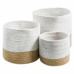 Wholesale White Braided Jute Basket