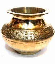 Golden Metal Brass Lota For Puja