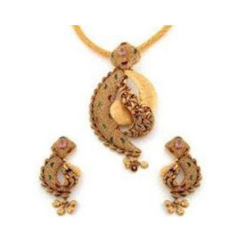 Antique gold pendant set siddharatna jewel pvt ltd manufacturer antique gold pendant set aloadofball Images