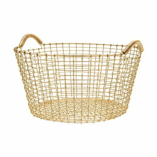 Gold Wire Basket | Metal Design Inc | Manufacturer in Moradabad | ID ...