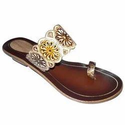 Women Ladies Flat Leather Slipper