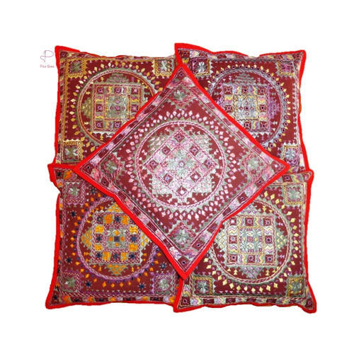 b8418f504d Cotton Embroidery Mirror Work Cushion Cover, Rs 200 /piece | ID ...