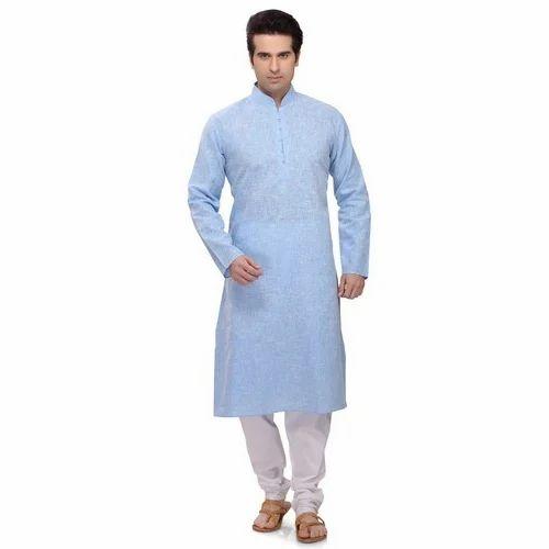 18e7aff8994 Sky Blue   White Cotton Punjabi Kurta Pajama
