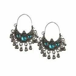 Metallic Silver Oxidized Earrings