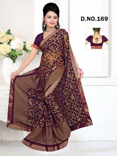 5992b9c322 Sythetic Silk Fancy Printed Brasso Saree, Construction Type: Hand ...