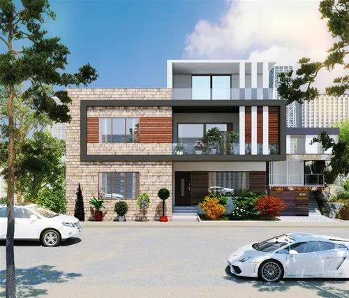 Elevation Designing Service Double Storey Modern Residence Front Elevation Designing Service Architect Interior Design Town Planner From Lucknow