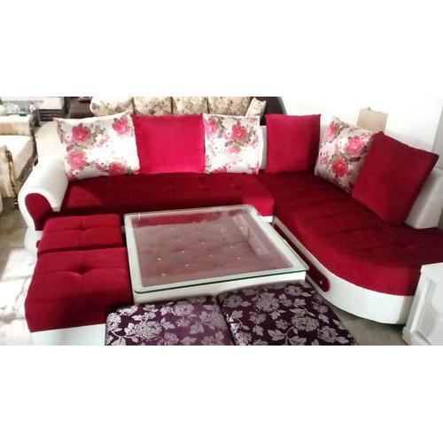 Red And White Wood L Shape Sofa Set Rs 37000 Set Shubham