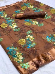 Ladies Satin Border Linen Saree