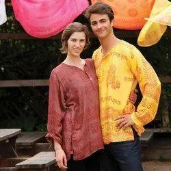Casual Wear Regular Men and Women Rayon Multicolor Printed Kurta, Size: Large, Wash Care: Handwash