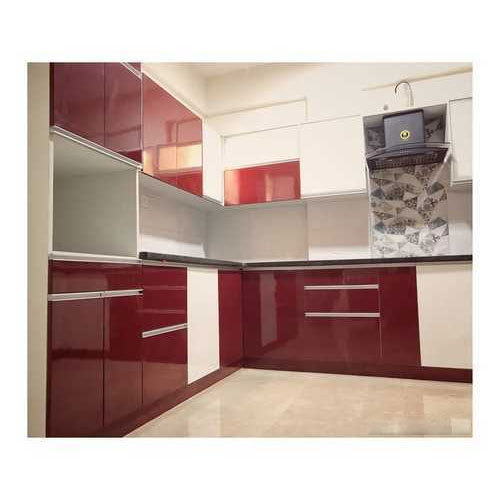 Maroon And White L Shaped Modular Kitchen, Rs 175000 /unit