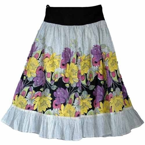 Cotton Multicolor Ladies Skirt