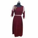 Ladies Maroon Western Dress, Size: Xxl