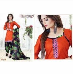 Devangi Red Cotton Printed Patiyala Dresses