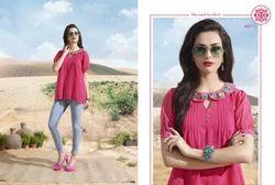 Pink Good Looking Embroidery Designer Kurti